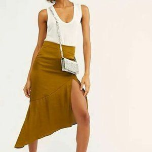 NWT Free People Lola Asymmetrical Slit Skirt